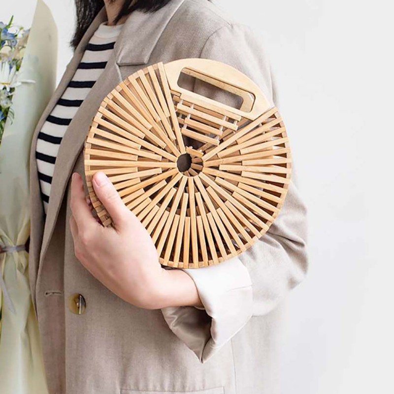 Women Circular Rattan Bamboo Bag Handwoven Bali Handbags Handmade Bamboo Tote Bag (With Scarf)