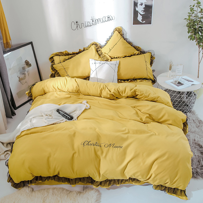 New Style Simple Solid Color Lace Skin-Friendly Cotton Brushed Embroidered Four-piece Set INS Wind Goddess-Bedding Article