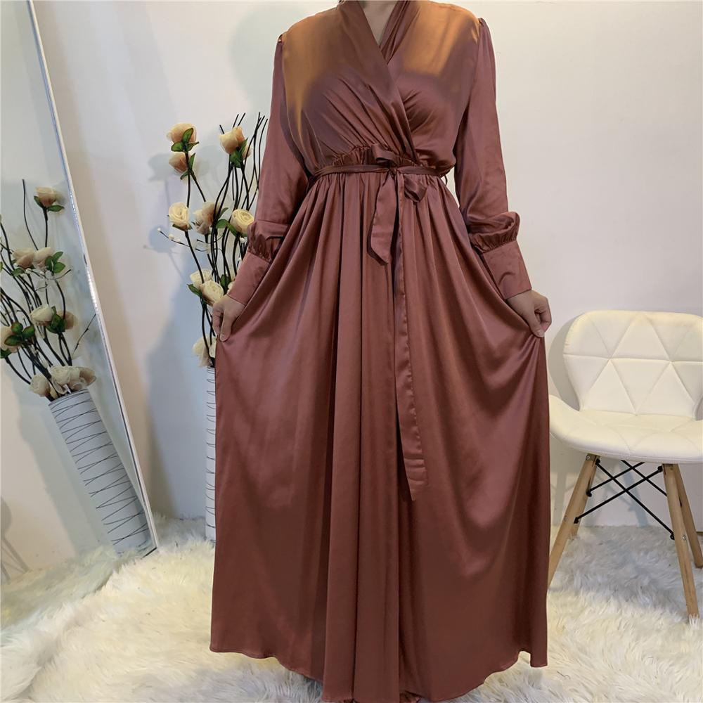 Eid Wrap Front Satin Dress Muslim Women V Neck Long Shirt Sleeve Long Maxi Dress with Pockets Summer Solid Color Turkey Modesty