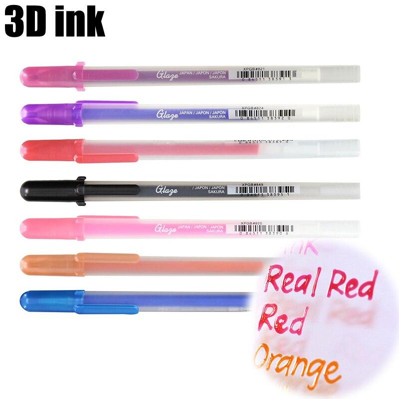 Sakura Gelly Roll Glaze Pens 3-Dimensional Glossy Ink Gel Pens 0.6mm 3D Art Font Jel Kalem Kawaii School Stationery Art Supplies