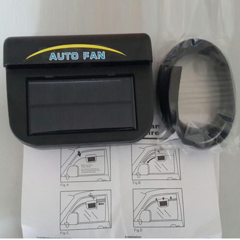 HiMISS 0.8W Solar Powered Car Auto Cooler Ventilation Fan Automobile Air Vent Exhaust Heat Fan With Rubber Strip