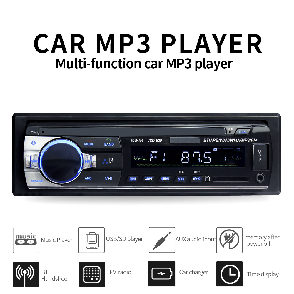 1 din car radio JSD 520 auto  stereo bluetooth audio mp3 player usb sd aux input oto teypleri    recorder|Car Monitors|Automobiles & Motorcycles - title=
