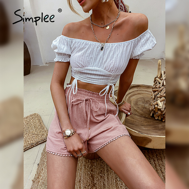 Simplee Elastic waist drawstring shorts Pocket dusty pink summer shorts woman Causal loose lace hollow out side shorts 2021 new 3