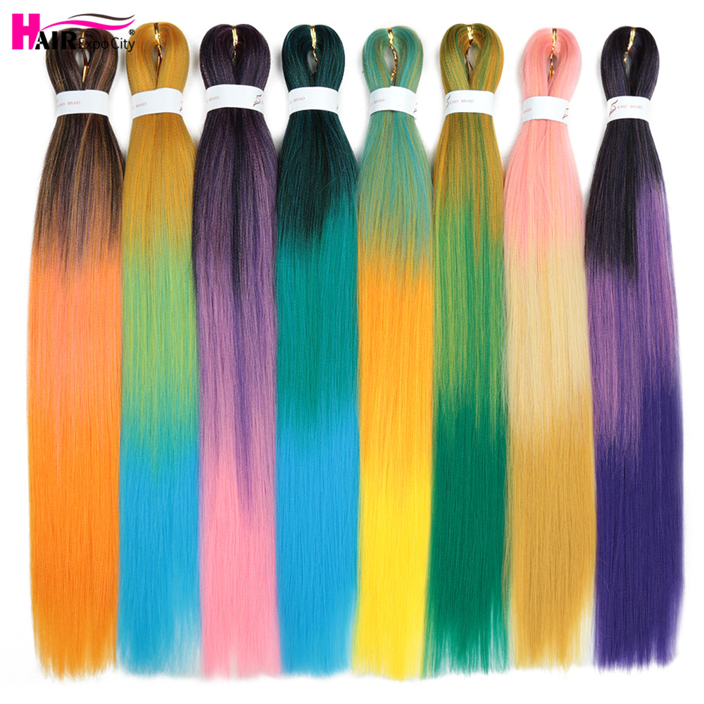 26inch Pre Stretched Expression Braiding Hair Box Braids Crochet Hair Ombre Synthetic Braid Hair Extensions Hair Expo City