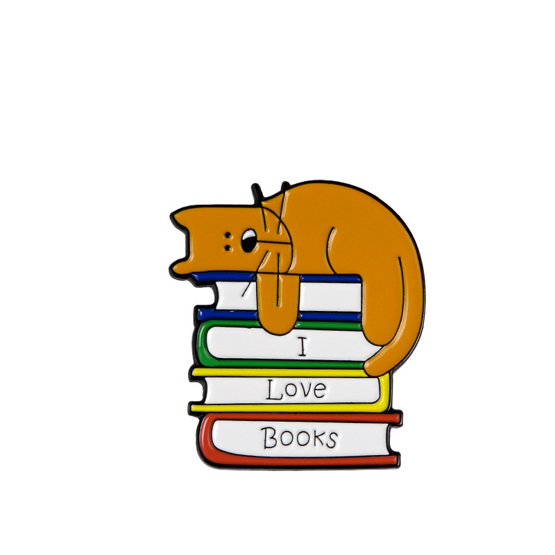 New Fashion I Love Books Enamel Pin брошь Lapel Backpack Badge Brooch for Reader Study(China)