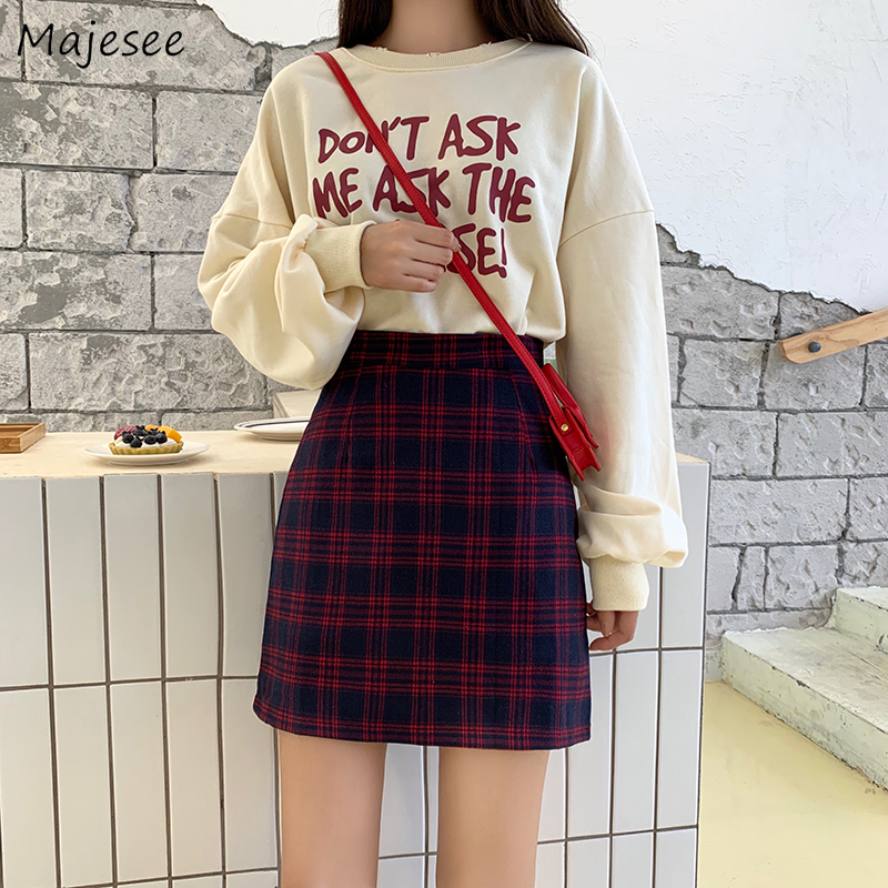 Mini Skirts Women Classic Vintage Plaid Simple Student Korean Style Casual High Waist All-match Daily Womens Skirt Harajuku Chic
