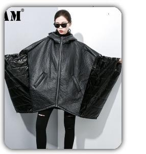 H8bf4637df4244282a93e7829efec5e53N [EAM] Loose Fit Black Hollow Out Pin Spliced Jacket New Lapel Long Sleeve Women Coat Fashion Tide Autumn Winter 2019 JZ500
