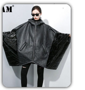[EAM] 2019 New Winter Hooded Long Sleeve Solid Color Black Cotton-padded Warm Loose Big Size Jacket Women parkas Fashion JD12101 24