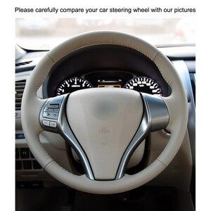 Image 3 - Hand stitched Black PU Artificial Leather Car Steering Wheel Cover for Nissan Teana Altima X Trail Qashqai Tiida Pulsar Navara