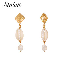 2019 Natural Shell Fresh Pearl Square Sequins Alloy Earrings For Women Birthday Gift Trendy Creative Jewelry
