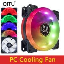 QITU-ventilador con cubierta para ordenador, enfriador silencioso de 90mm, 4 pines, PWM, 9CM, RGB, 12V, CC, velocidad ajustable, 92mm