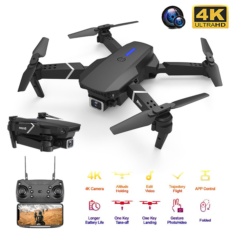 New RC Drone Quadrocopter with 4K Camera WIFI FPV Live Wide Angle HD Height Hold Dual camera Foldable Quadcopter Dron Toy