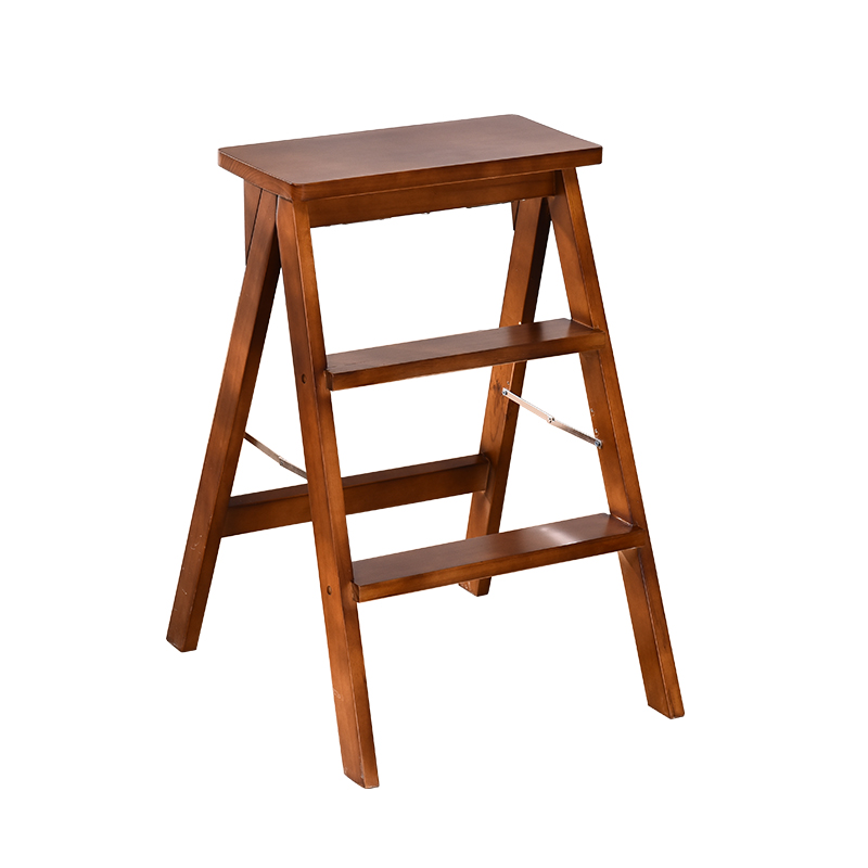 Solid Wood Folding Stool Simple Portable  Multi-function Ladder   Chair Creative Home Kitchen High Bench