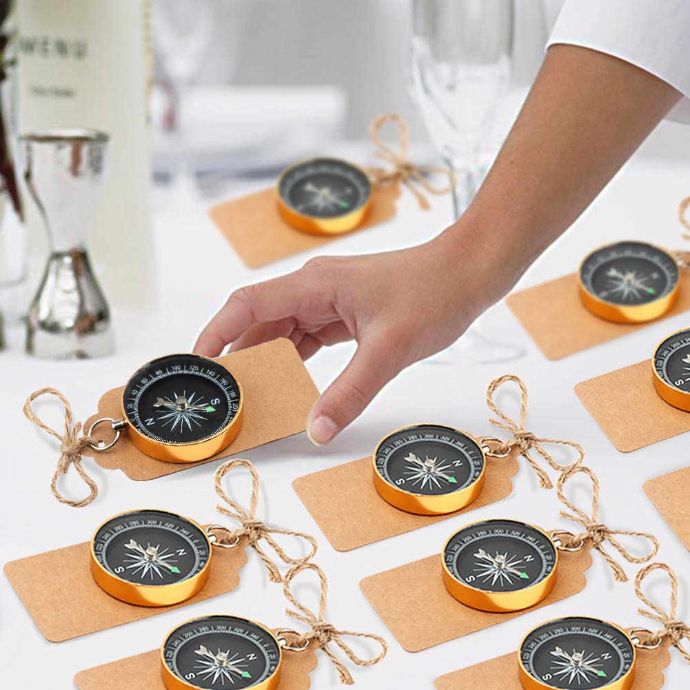 Ourwarm 50 قطعة الزفاف الحسنات Karft ورقة الحلوى هدية مربع البوصلة مع علامة الزفاف هدية للضيف تذكارية الولادة حزب الديكور