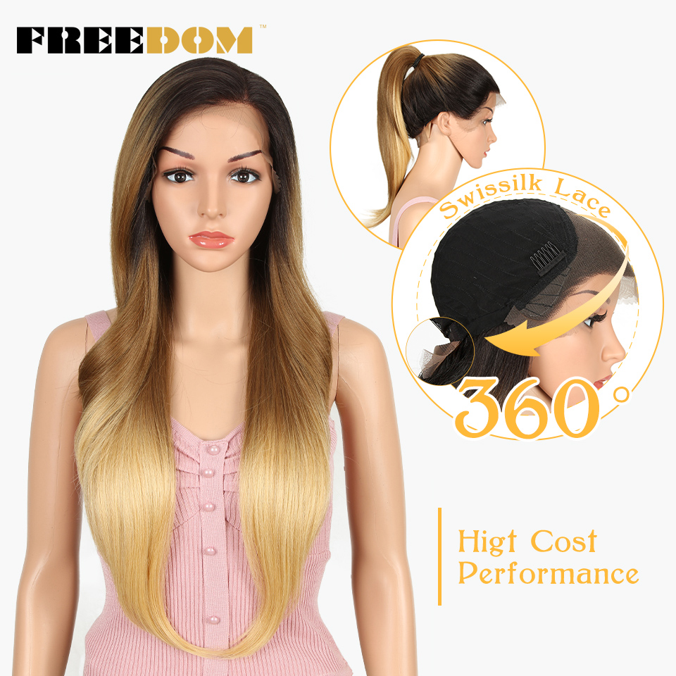 FREEDOM Synthetic Wigs For Black Women Heat Resistant Straight 613 Orange Blonde Lace Front Wigs Natural Hairline Cosplay Hair