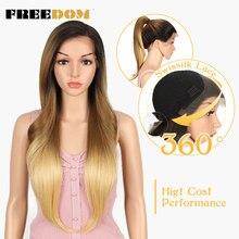 FREEDOM peruki syntetyczne dla czarnych kobiet żaroodporne prosto 613 pomarańczowy blond koronki przodu peruki naturalne włosy Cosplay włosów