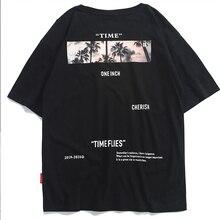 Aelfric Eden Hip Hop Streetwear gömlek erkekler 2020 yaz saati sinekler baskı kısa kollu hawaii Tops Tees erkek pamuk tişörtleri siyah