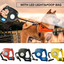 HIPET 4.5m Retractable Dog Leash LED Automatic Flexible Pet Cat Lead Rope With Garbage Bag Belt For Walking