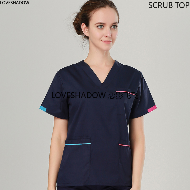 Women Fashion Pure Cotton Scrubs Top Color Blocking V-neck Short Sleeve Shirt Doctor Nurse Dentist Medical Uniforms (Just A Top)