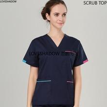 Women Fashion Pure Cotton Scrubs Top Color Blocking V-neck Short Sleeve Shirt Doctor Nurse Dentist Medical Uniforms (Just A Top)