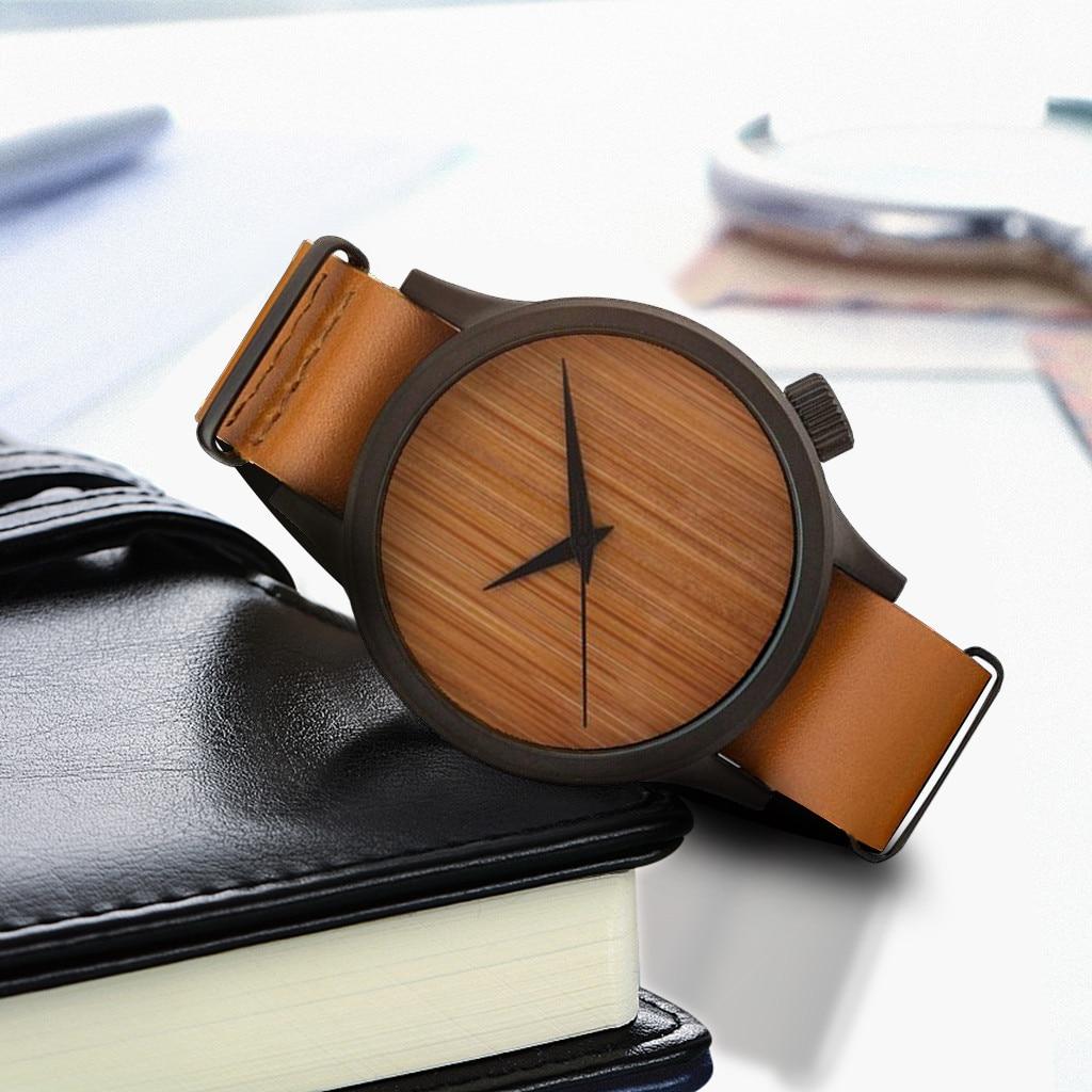 Reloj de madera para Hombre, relojes de pulsera de cuarzo Erkek Kol Sa