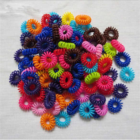 Espiral forma laços de cabelo ferramentas estilo do cabelo fio telefone acessórios 5 pçs plástico cabelo braider cabeça corda colorida