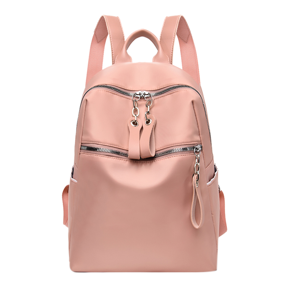 Fashion Solid Color Backpack Women Large Capacity Zip Hand Bag Oxford Cloth Knapsack Sac A Dos Mochila Feminina Mujer Sac A Main