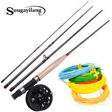 Sougayilang-canne de pêche à la mouche et moulinet, 4 sections, 2.7M, ligne de pêche à la mouche Combo, pour voyage en eau douce, pour pêche du bar et du brochet