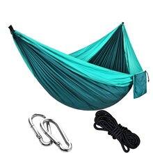 Hamac de Camping extérieur 270*140 CM-hamacs légers portatifs de Parachute en Nylon hamac simple avec des cordes et des mousquetons
