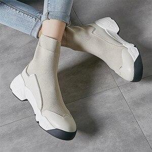 Image 5 - FEDONAS الجوارب أحذية النساء الخريف الشتاء الدافئة حذاء من الجلد عالية الكعب أسافين منصة حذاء كاجوال امرأة جديدة حقيقية أحذية من الجلد