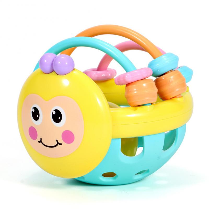 Puzzle Baby Rattles Bee Hand Knocking Rattle Rubber Dumbbell Kids Early Educational Soft Toys Christmas Gift New 2019 Unisex