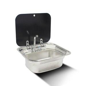 Image 1 - قارب RV قافلة الفولاذ المقاوم للصدأ حوض غسيل اليد بالوعة مع غطاء من الزجاج المعالج