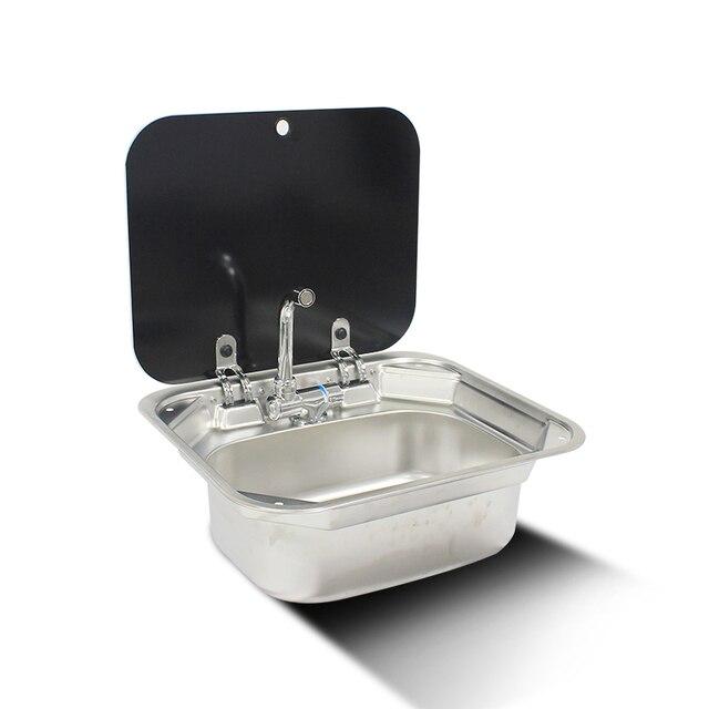 قارب RV قافلة الفولاذ المقاوم للصدأ حوض غسيل اليد بالوعة مع غطاء من الزجاج المعالج