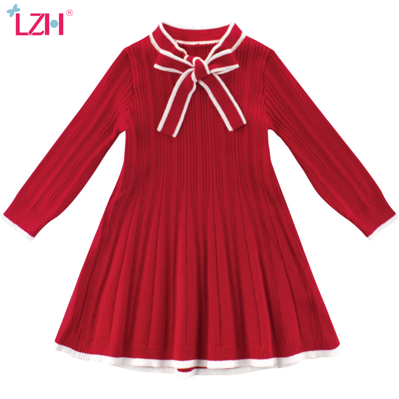LZH <font><b>Toddler</b></font> Girls Sweater Dress 2020 Autumn Winter Kids Casual Knitting Long Sleeve <font><b>Princess</b></font> Dress For Girl Red Children Clothes image