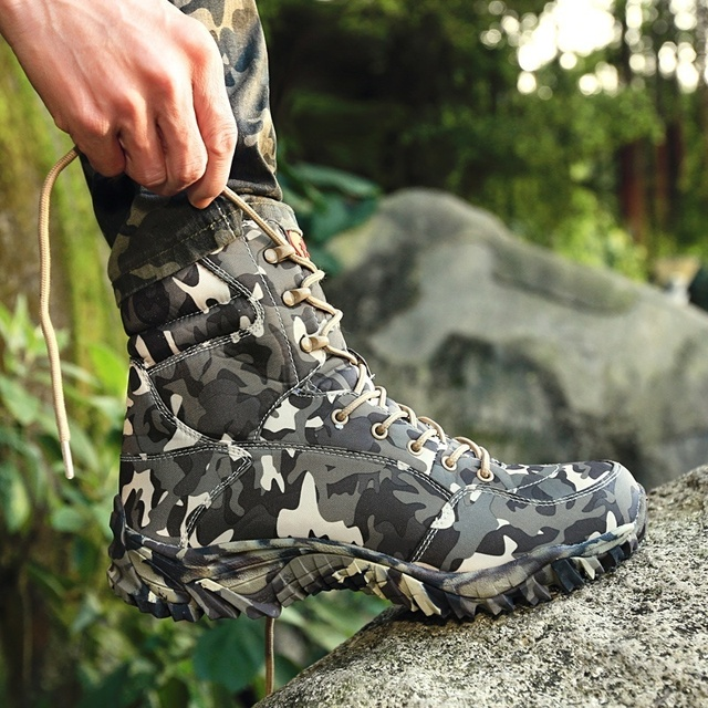 Men Military Tactical Boots Spring Waterproof Canvas Camo Camping Trekking Boot Man Climbing Outdoor Hiking Shoes 4
