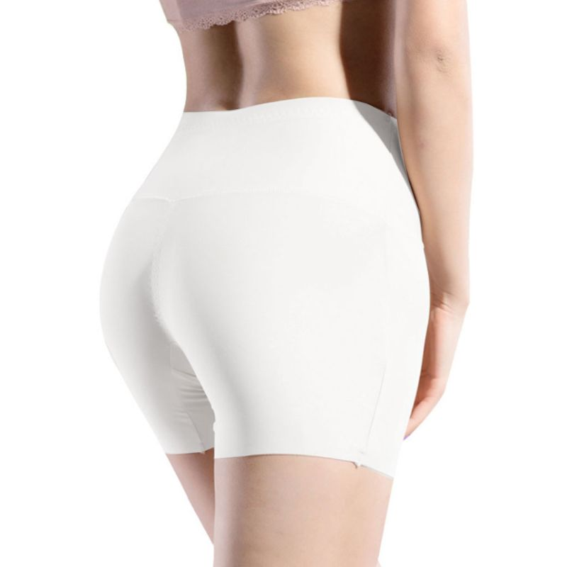 Women High Waist Ice Silk Safety Shorts Invisible Seamless Cotton Crotch Lip Boxer Brief Underwear Solid Color Stretchy Boyshort