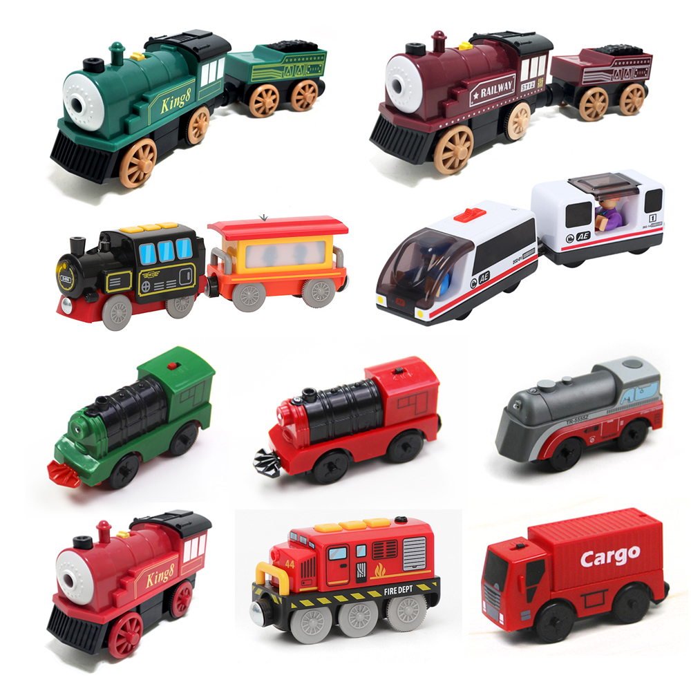 W131 Kids Electric Train Toys Magnetic Slot Diecast Electronic Toy Birthday Gifts For Kids FIT Brio Track Wooden Track