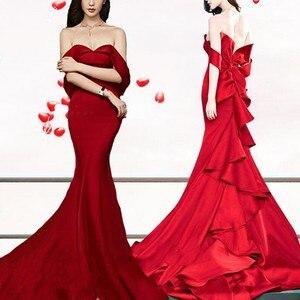 Image 2 - Сексуальное Многоярусное вечернее платье русалки, длинное 2020 без бретелек с открытой спиной Красное платье в стиле знаменитостей с большим бантом женское платье