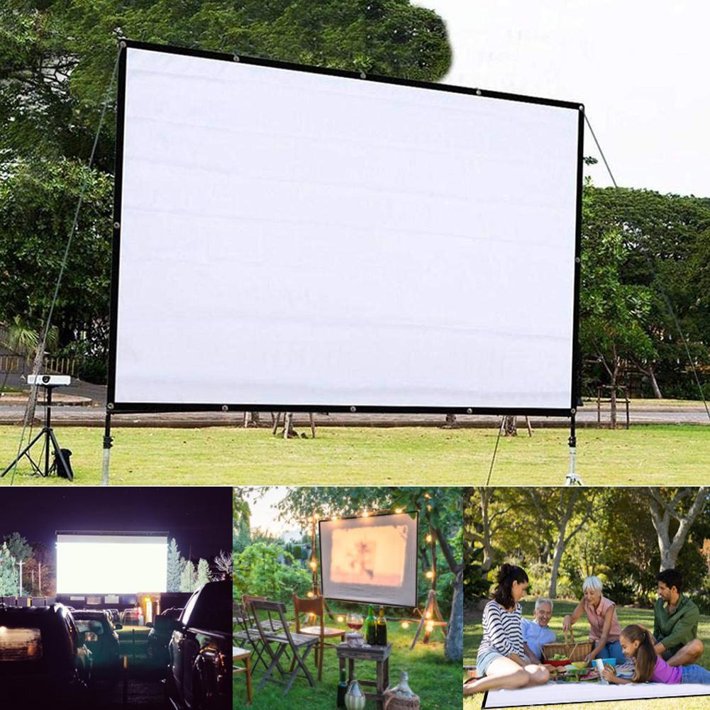 Projetor de tela hd dobrável 150 polegadas, portátil, 4:3 dacron branco, tela de projeção, montado na parede, para home theater, filme