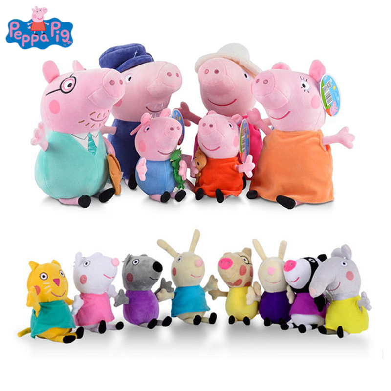 Original Peppa Pig 1 family of 4 George Stuffed Plush Toys Cartoon Animal Family Friend Pig Party Dolls For Girl Birthday Gifts