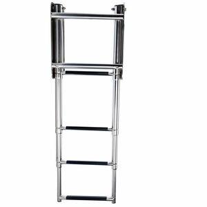 4 шаг Нержавеющаясталь телескопическая лестница для морской катер под алюминиевого сплава алюминиевая верхняя алюминиевая консервная банка