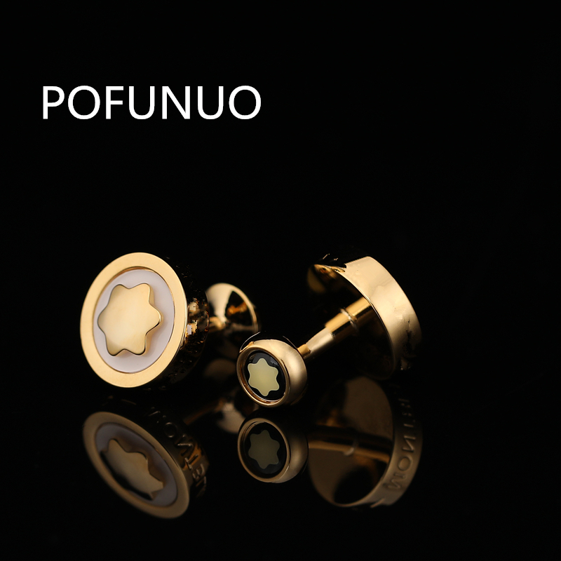 POFUNUO Luxury Shirt Cufflinks For Men's Brand Cuff Buttons Cuff Links Gemelos High Quality Round Wedding Abotoaduras Jewelry