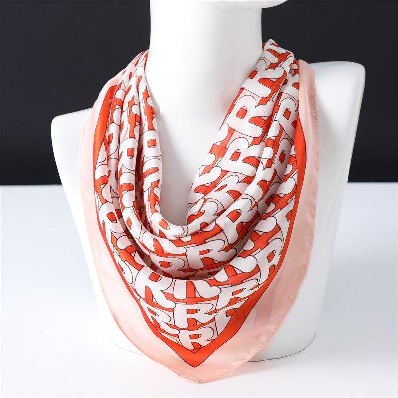 70*70cm 2020 Design Silk Women Neck Scarf Lady Wraps Square Scarves Letter Print Foulard Shawls Hair Band Kerchief Tie