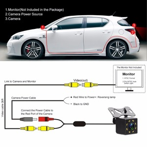 Image 5 - Podofo Car Rear View Camera Universal Backup Parking Camera 4/8/12 LED 8IR Night Vision Waterproof 170 Wide Angle HD Color Image