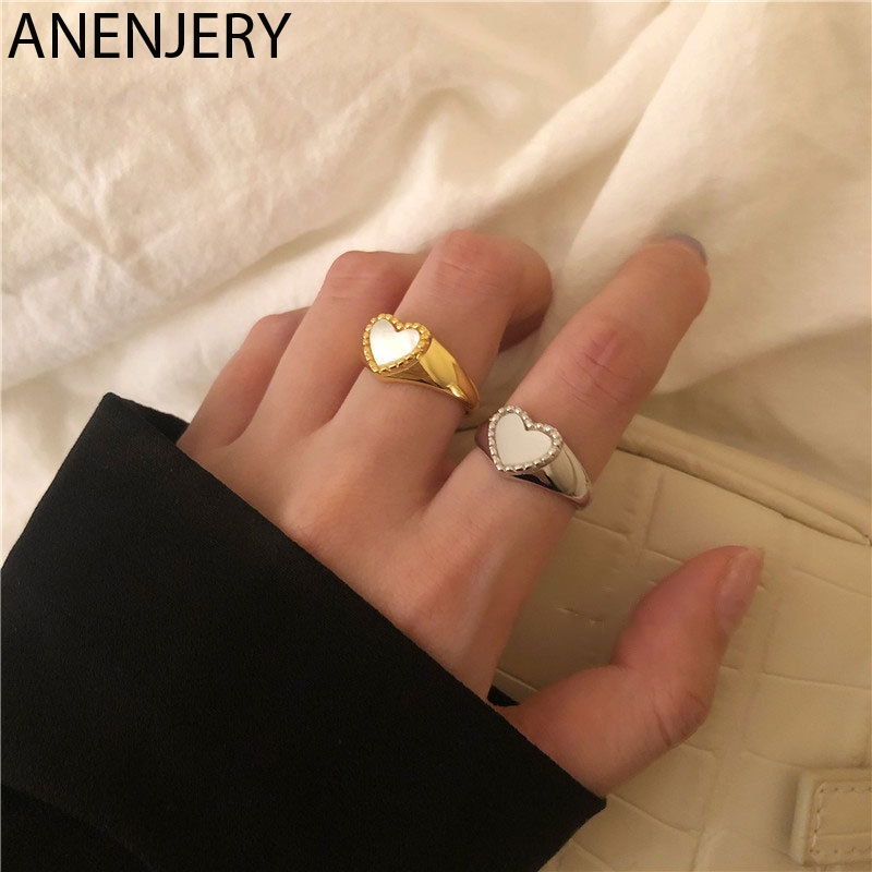 ANENJERY Elegant 925 Sterling Silver Love Heart Shell Finger Ring For Women Fashion Party Wedding Jewelry Ring Gift S-R952