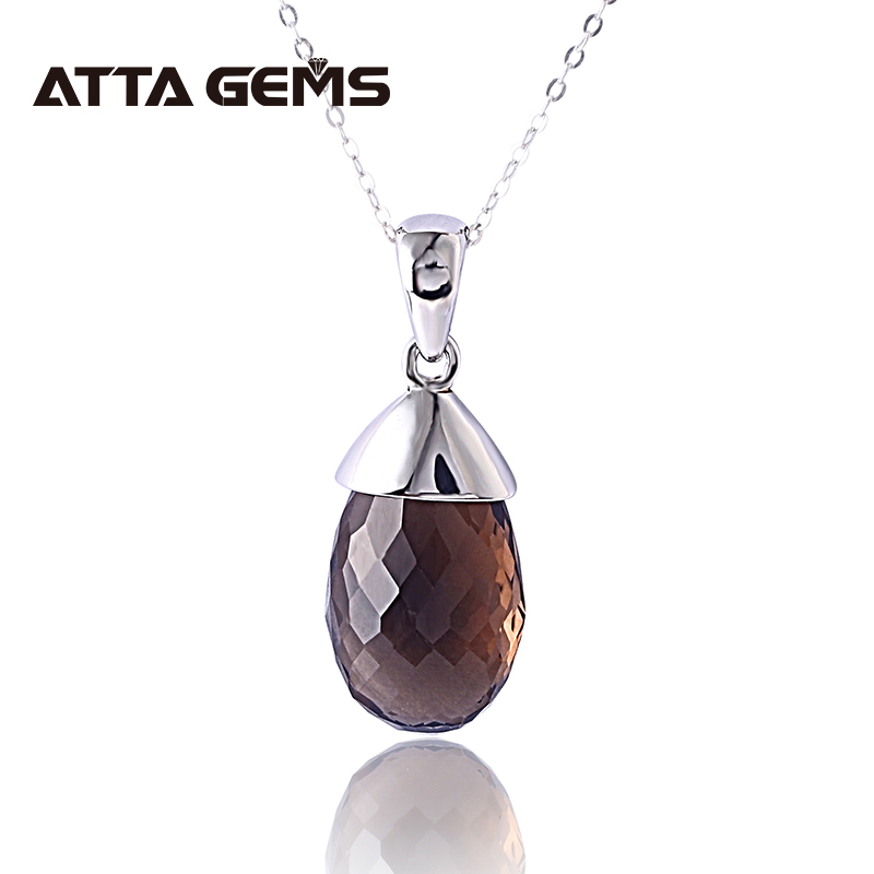 Natural Smoky Quarts Sterling Silver Pendant For Women Fine Jewelry Party Office Silver Jewelry Natural Brown Crystal Pendants