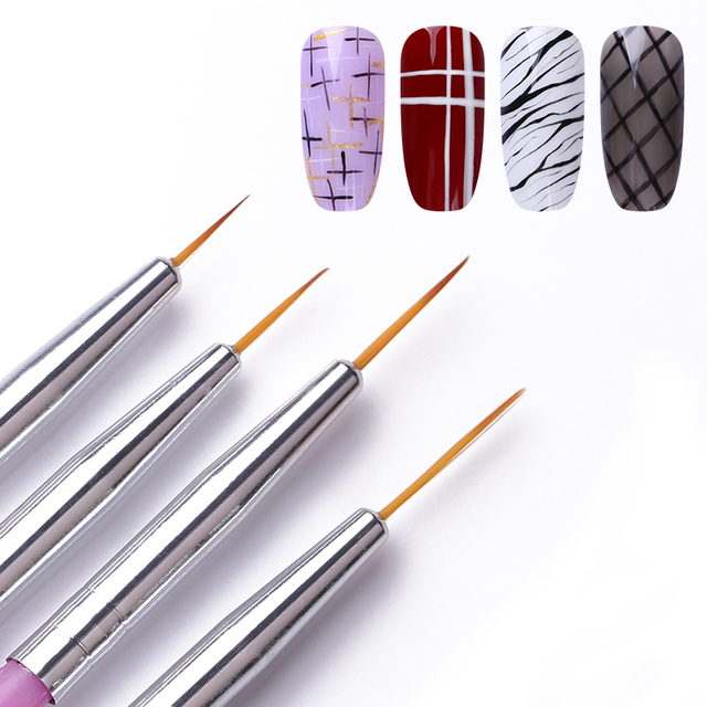 4Pcs/Set Nail Liner Brush Drawing Lines Painting Flower Pen Mixed Size Brush Plastic Handle DIY Nail Art Design Tools