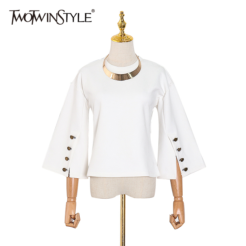 TWOTWINSTYLE Casual Women Blouse O Neck Flare Long Sleeve Loose Hit Color Elegant Shirt Female Fashion Clothing Spring 2020 Tide