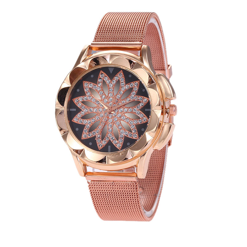 Lotus Flower Rhinestone Gold Alloy Watches Fashion Simple Women Mesh Watch Casual Wrist Watch For Christmas Gift