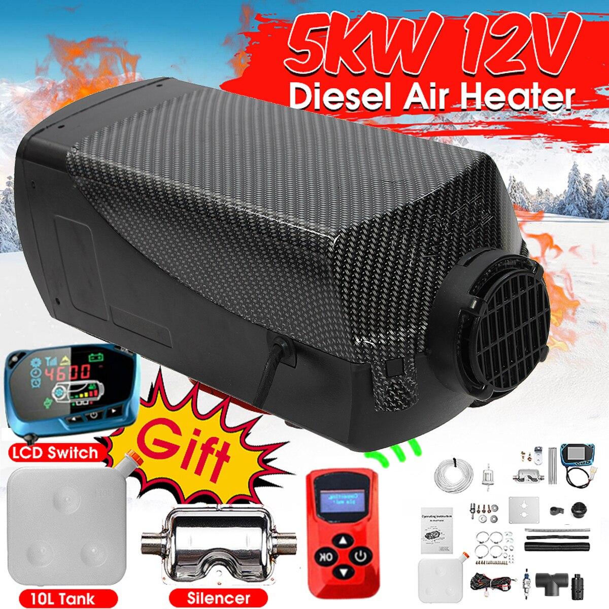 5000W Air diesels chauffage 5KW 12V Singal trou voiture chauffage pour camions camping-Car bateaux Bus + LCD interrupteur à clé + silencieux + télécommande